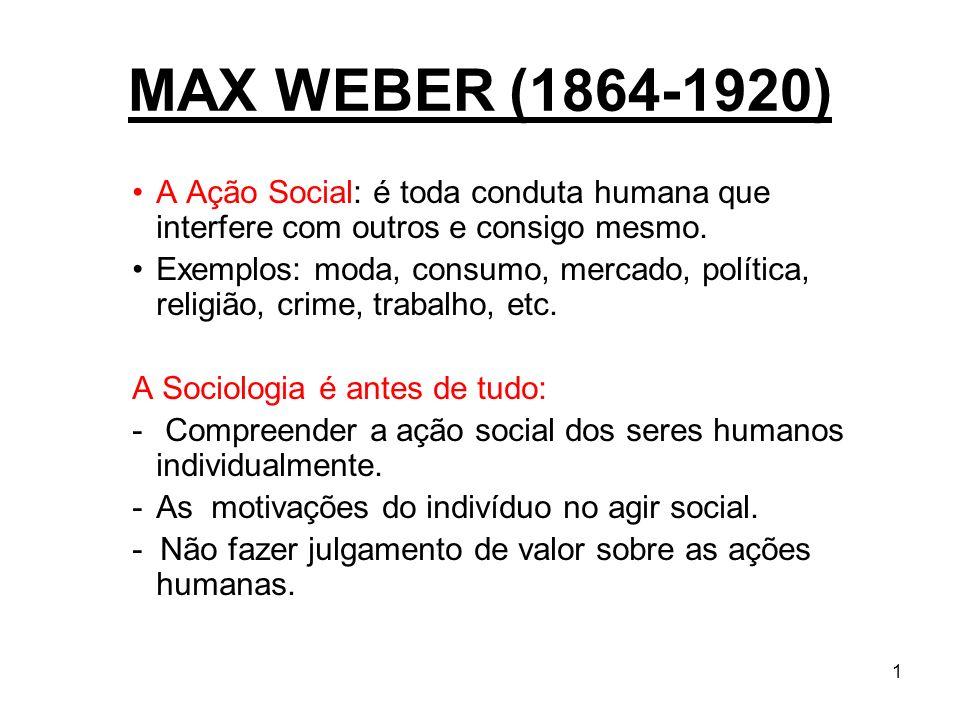1 MAX WEBER (1864-1920) A Ação Social: é toda conduta humana que interfere com outros e consigo mesmo. Exemplos: moda, consumo, mercado, política, rel