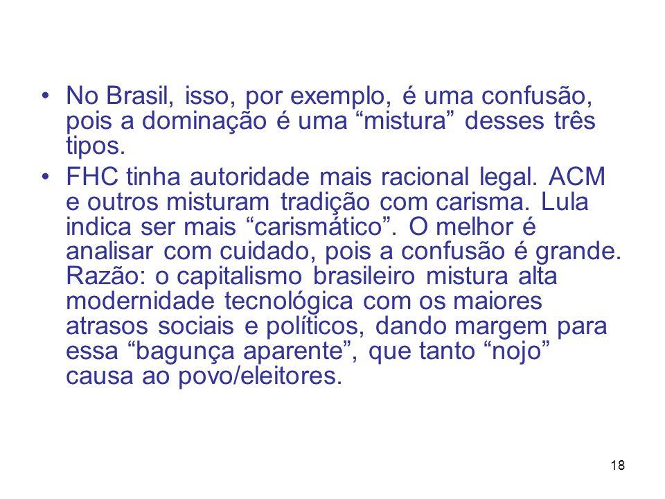 18 No Brasil, isso, por exemplo, é uma confusão, pois a dominação é uma mistura desses três tipos. FHC tinha autoridade mais racional legal. ACM e out
