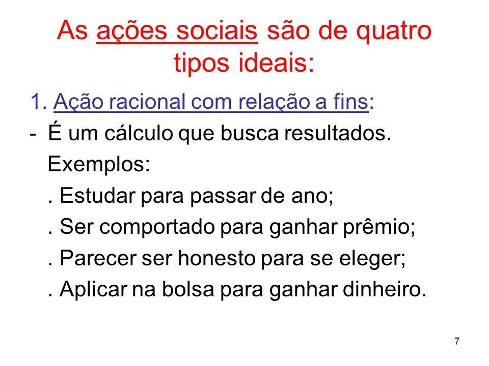 7 As ações sociais são de quatro tipos ideais: 1. Ação racional com relação a fins: -É um cálculo que busca resultados. Exemplos:. Estudar para passar