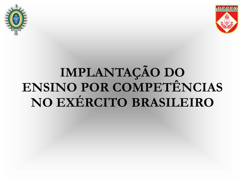 OBJETIVOS Conhecer: - o Projeto de Implantação do Ensino por Competências no Exército Brasileiro; e - os trabalhos realizados pelo Comitê Técnico para a Implantação do Ensino por Competências.