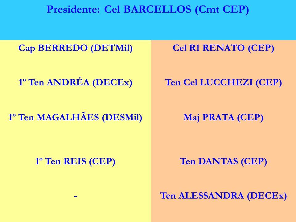 COMITÊ TÉCNICO Presidente: Cel BARCELLOS (Cmt CEP) Cap BERREDO (DETMil)Cel R1 RENATO (CEP) 1º Ten ANDRÉA (DECEx)Ten Cel LUCCHEZI (CEP) 1º Ten MAGALHÃE