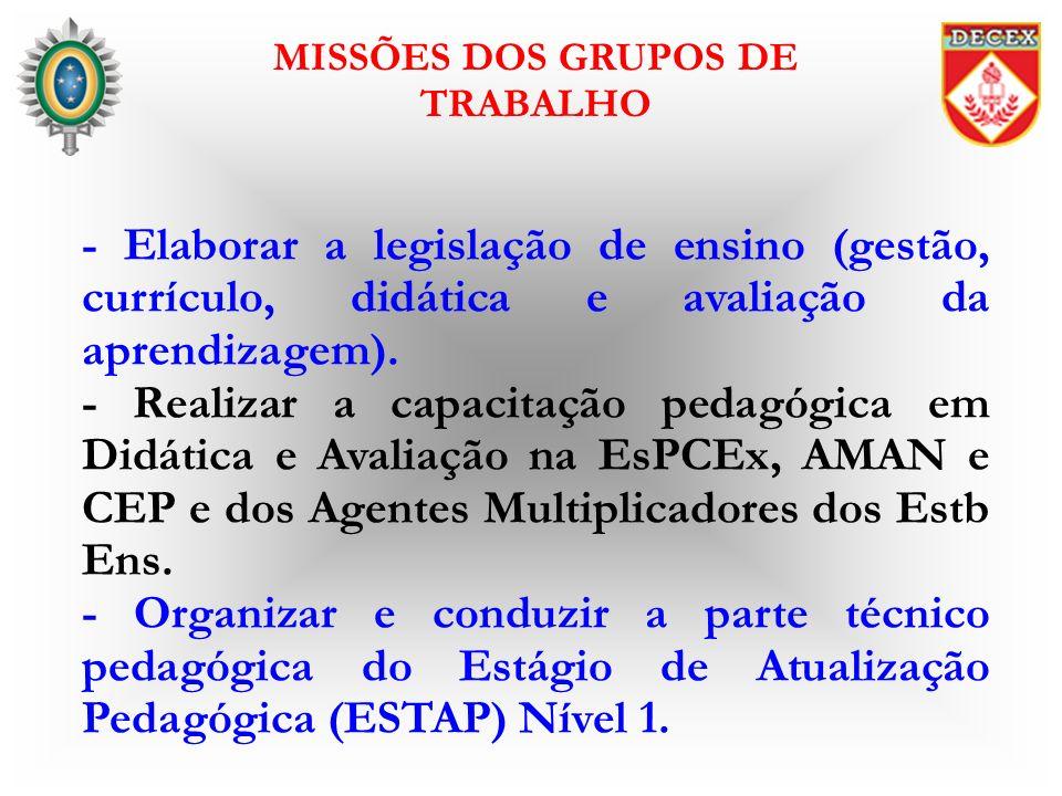 - Elaborar a legislação de ensino (gestão, currículo, didática e avaliação da aprendizagem). - Realizar a capacitação pedagógica em Didática e Avaliaç
