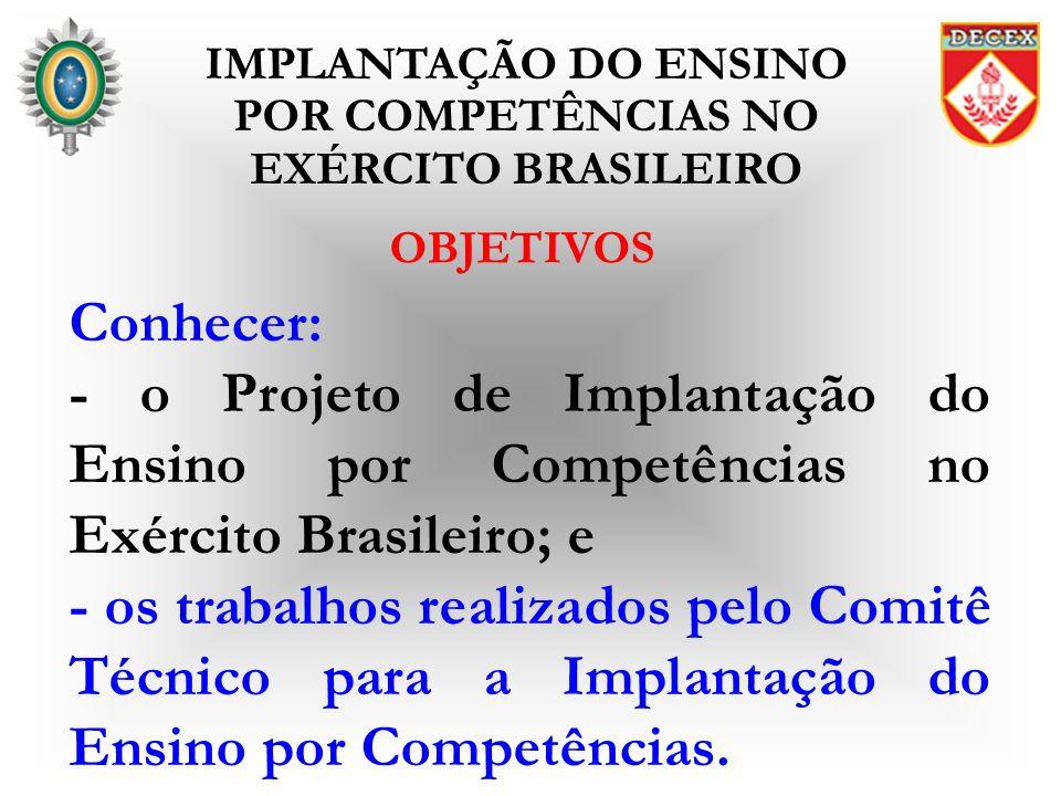 OBJETIVOS Conhecer: - o Projeto de Implantação do Ensino por Competências no Exército Brasileiro; e - os trabalhos realizados pelo Comitê Técnico para
