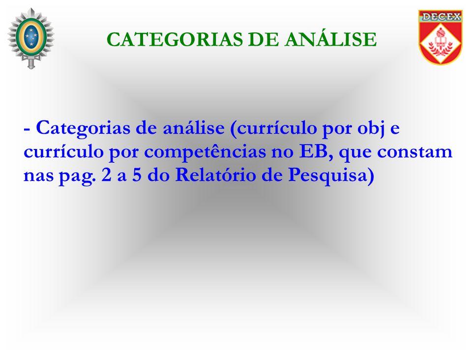 - Categorias de análise (currículo por obj e currículo por competências no EB, que constam nas pag. 2 a 5 do Relatório de Pesquisa) CATEGORIAS DE ANÁL