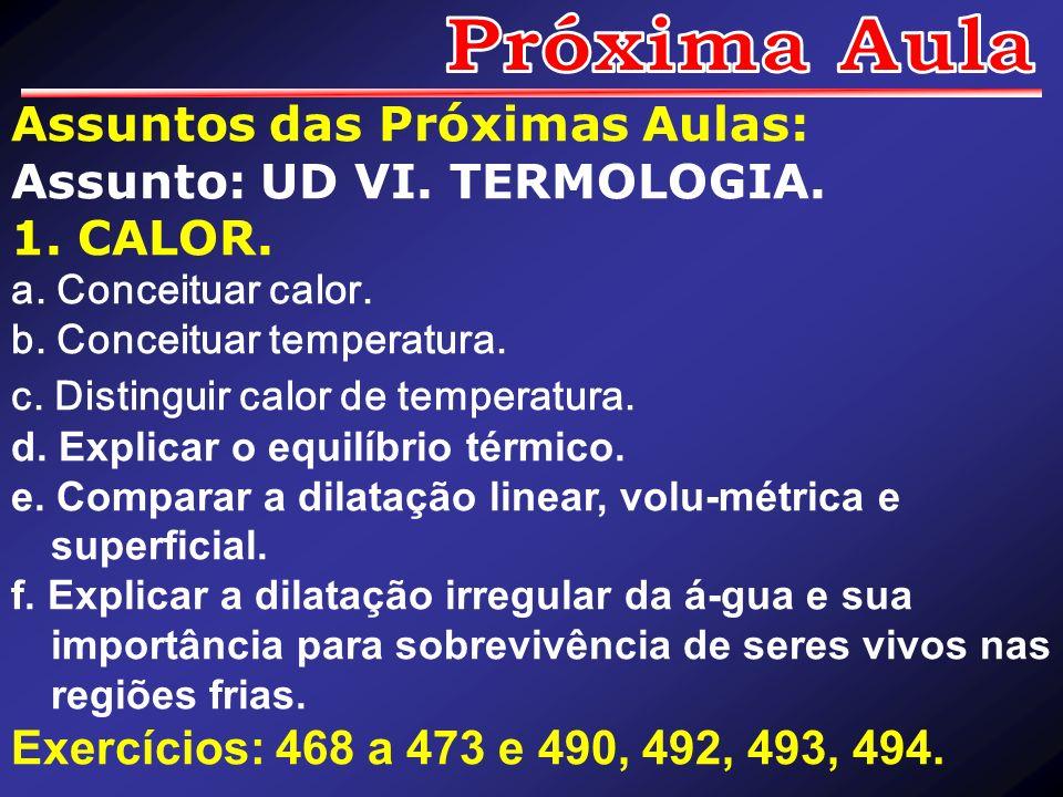 Assuntos das Próximas Aulas: Assunto: UD VI. TERMOLOGIA. 1. CALOR. a. Conceituar calor. b. Conceituar temperatura. c. Distinguir calor de temperatura.