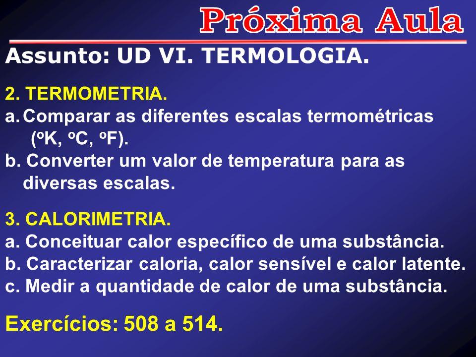 Assunto: UD VI. TERMOLOGIA. 2. TERMOMETRIA. a.Comparar as diferentes escalas termométricas ( o K, o C, o F). b. Converter um valor de temperatura para