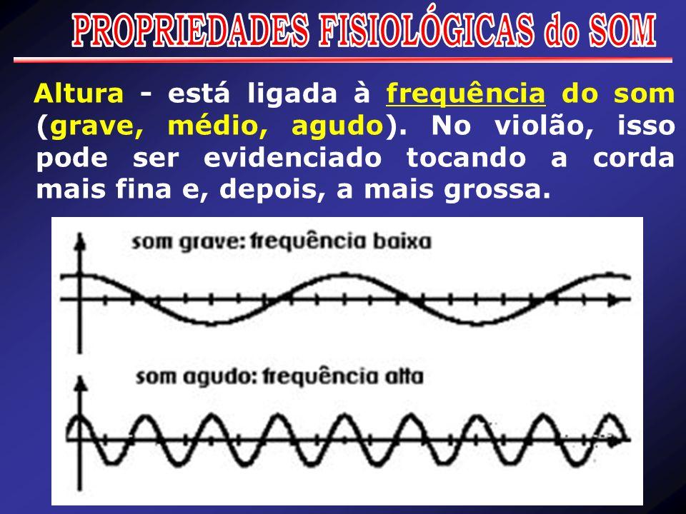 Altura - está ligada à frequência do som (grave, médio, agudo). No violão, isso pode ser evidenciado tocando a corda mais fina e, depois, a mais gross