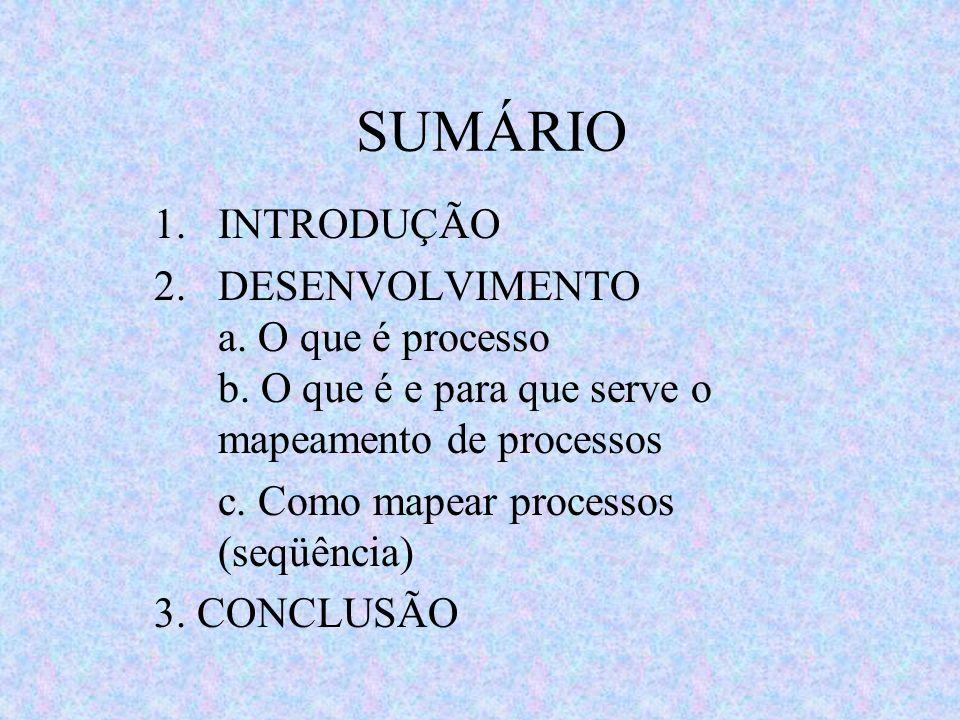SUMÁRIO 1.INTRODUÇÃO 2.DESENVOLVIMENTO a. O que é processo b. O que é e para que serve o mapeamento de processos c. Como mapear processos (seqüência)