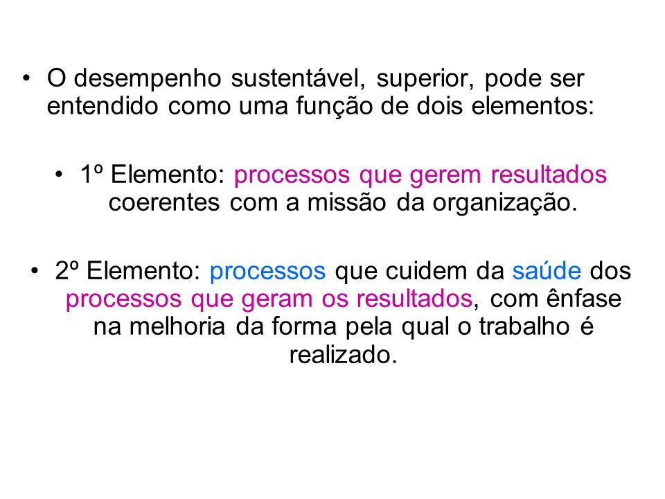 O desempenho sustentável, superior, pode ser entendido como uma função de dois elementos: 1º Elemento: processos que gerem resultados coerentes com a