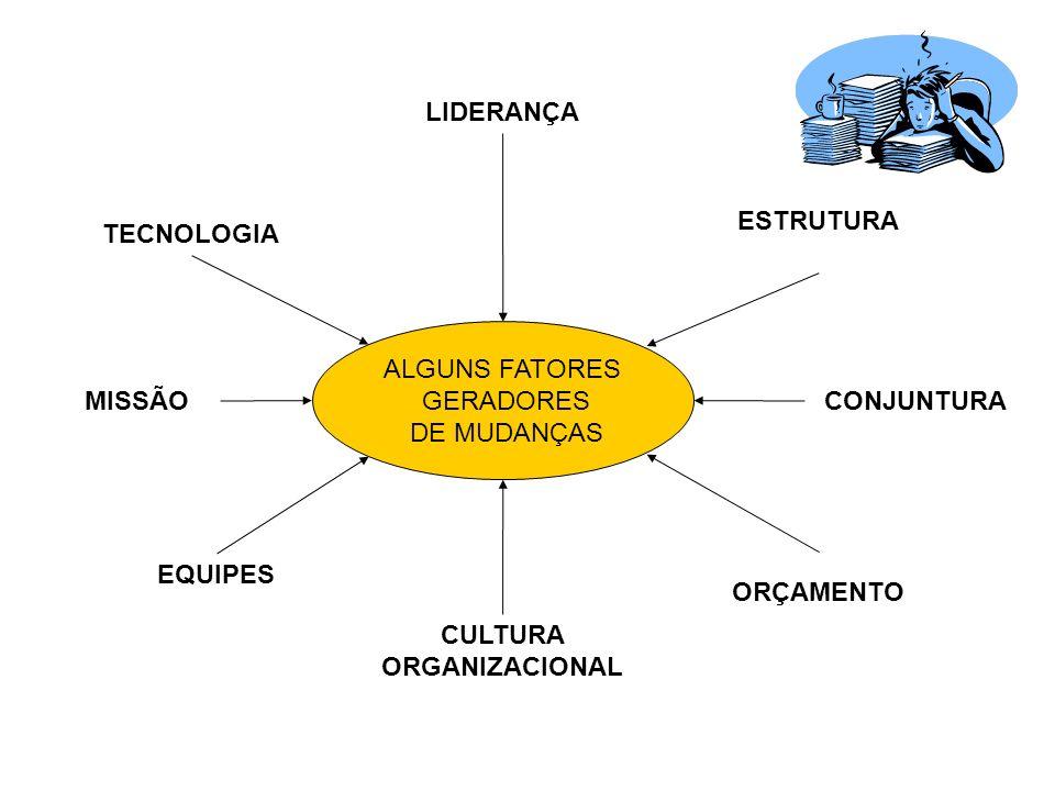 ALGUNS FATORES GERADORES DE MUDANÇAS TECNOLOGIA MISSÃO EQUIPES CULTURA ORGANIZACIONAL ORÇAMENTO CONJUNTURA LIDERANÇA ESTRUTURA