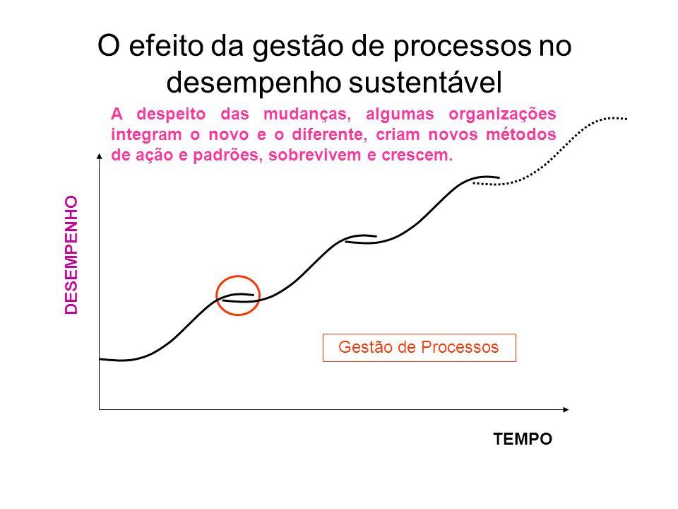 O efeito da gestão de processos no desempenho sustentável DESEMPENHO TEMPO A despeito das mudanças, algumas organizações integram o novo e o diferente