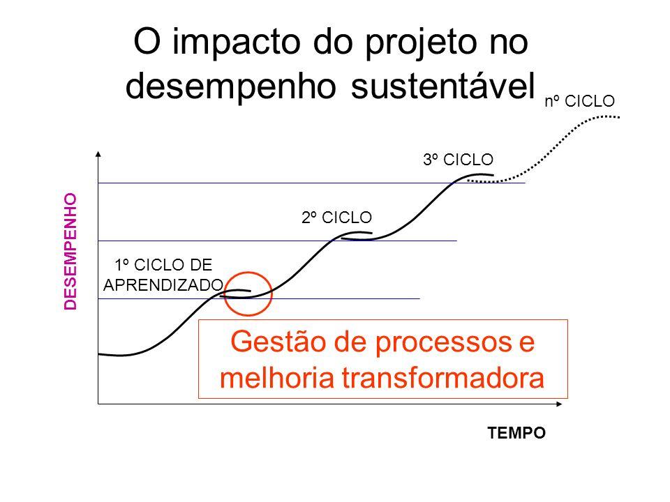 O impacto do projeto no desempenho sustentável DESEMPENHO TEMPO 1º CICLO DE APRENDIZADO 2º CICLO 3º CICLO nº CICLO Gestão de processos e melhoria tran