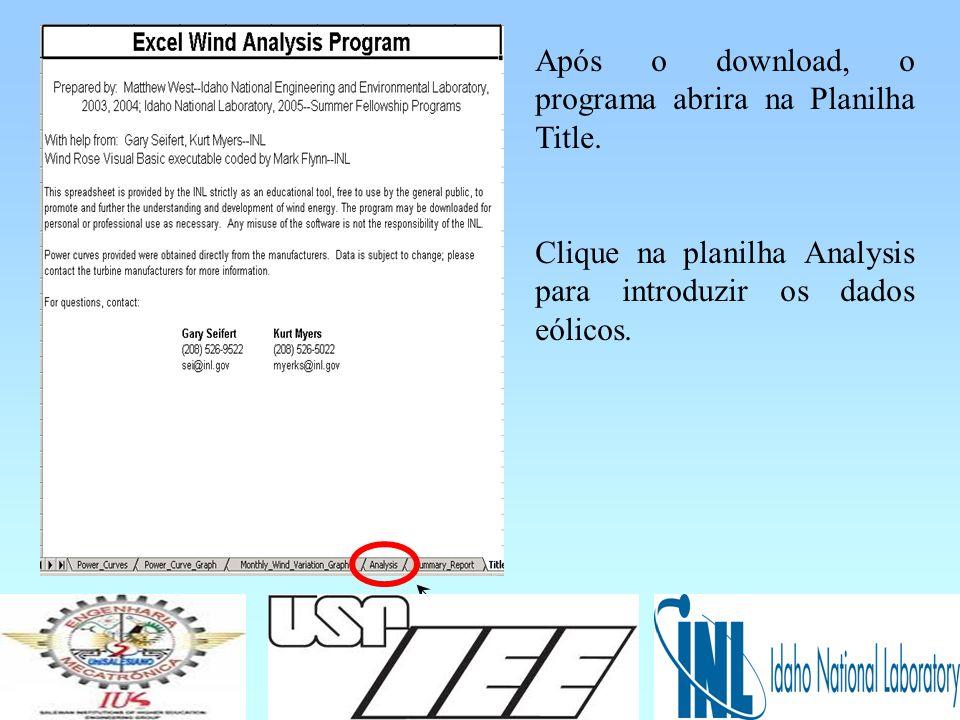 Após o download, o programa abrira na Planilha Title.