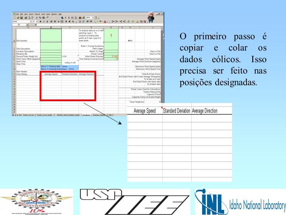 Próximo passo, site information e calculation specifications devem ser definidas.