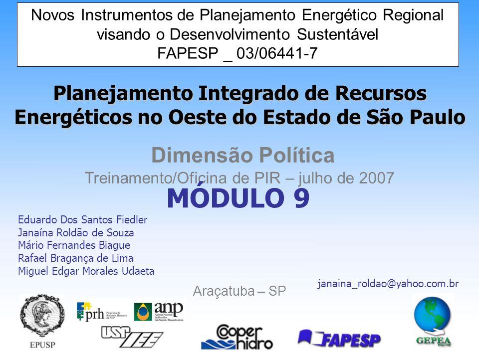 Novos Instrumentos de Planejamento Energético Regional visando o Desenvolvimento Sustentável 11 Órgão Regulador e Poder Concedente: Agência Nacional de Energia Elétrica – ANEEL.