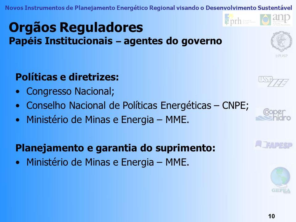 Novos Instrumentos de Planejamento Energético Regional visando o Desenvolvimento Sustentável 9 9 Problemas de Regula ç ão no Brasil 9 Falta de polític