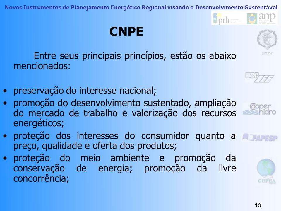 Novos Instrumentos de Planejamento Energético Regional visando o Desenvolvimento Sustentável 12 CNPE – Conselho Nacional de Política Energética Criado