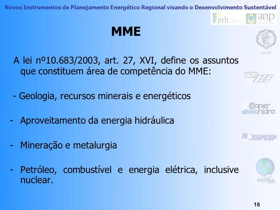 Novos Instrumentos de Planejamento Energético Regional visando o Desenvolvimento Sustentável 15 MME – Ministério de Minas e Energia O MME é o órgão do