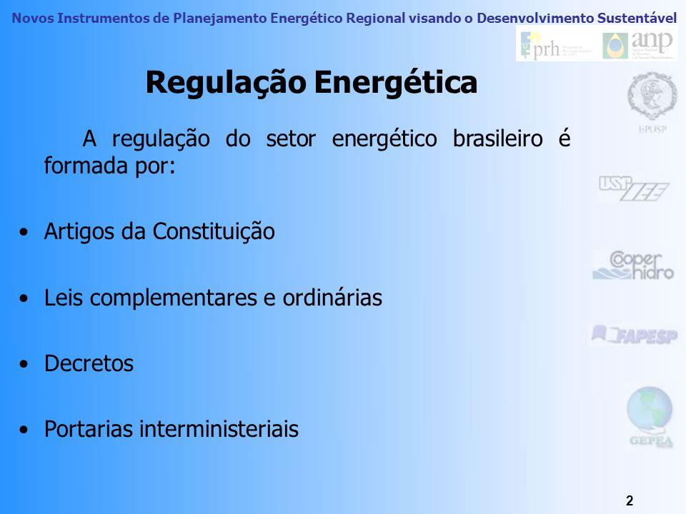 Novos Instrumentos de Planejamento Energético Regional visando o Desenvolvimento Sustentável 2 Regulação Energética A regulação do setor energético brasileiro é formada por: Artigos da Constituição Leis complementares e ordinárias Decretos Portarias interministeriais