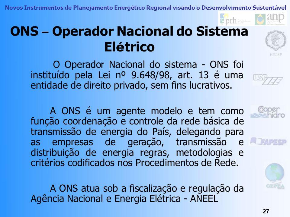 Novos Instrumentos de Planejamento Energético Regional visando o Desenvolvimento Sustentável 26 Atribuições do CCEE: Promover leilões de compra e vend