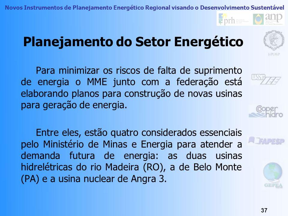 Novos Instrumentos de Planejamento Energético Regional visando o Desenvolvimento Sustentável 36 Planejamento do Setor Energético Visão Geral Atual e A
