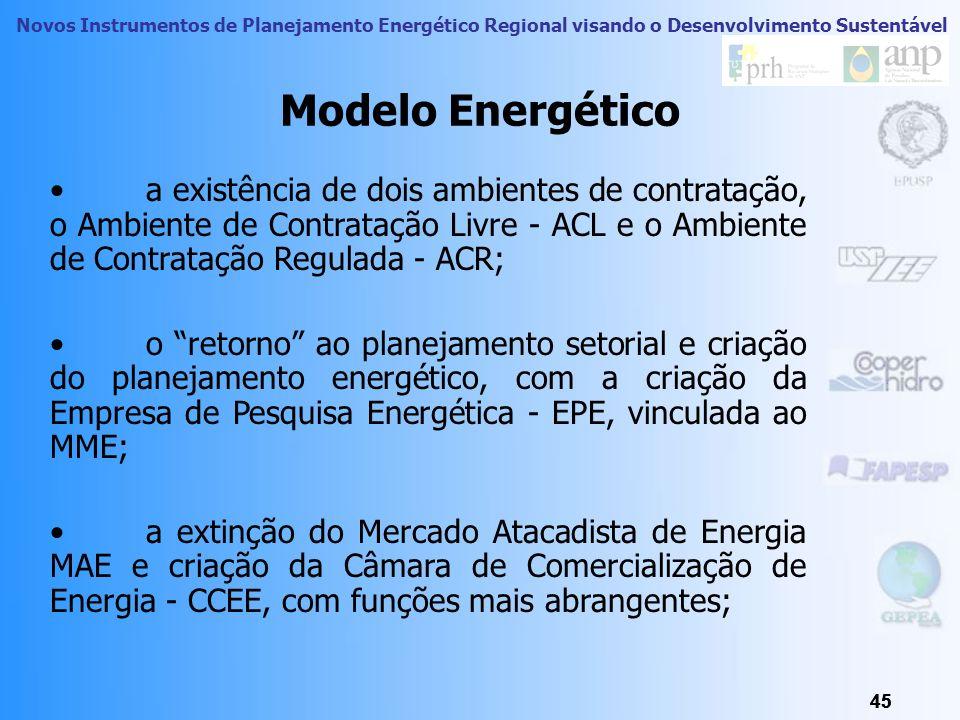 Novos Instrumentos de Planejamento Energético Regional visando o Desenvolvimento Sustentável 44 Modelo Energético A criação das figuras da energia exi