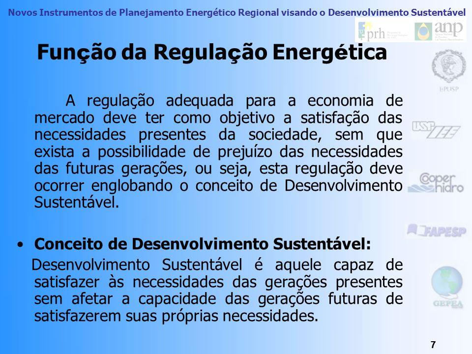 Novos Instrumentos de Planejamento Energético Regional visando o Desenvolvimento Sustentável 7 7 Fun ç ão da Regula ç ão Energ é tica 7 A regulação adequada para a economia de mercado deve ter como objetivo a satisfação das necessidades presentes da sociedade, sem que exista a possibilidade de prejuízo das necessidades das futuras gerações, ou seja, esta regulação deve ocorrer englobando o conceito de Desenvolvimento Sustentável.