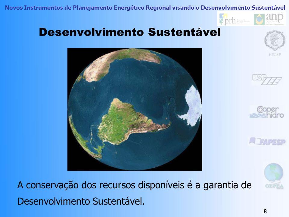 Novos Instrumentos de Planejamento Energético Regional visando o Desenvolvimento Sustentável 8 Desenvolvimento Sustentável A conservação dos recursos disponíveis é a garantia de Desenvolvimento Sustentável.