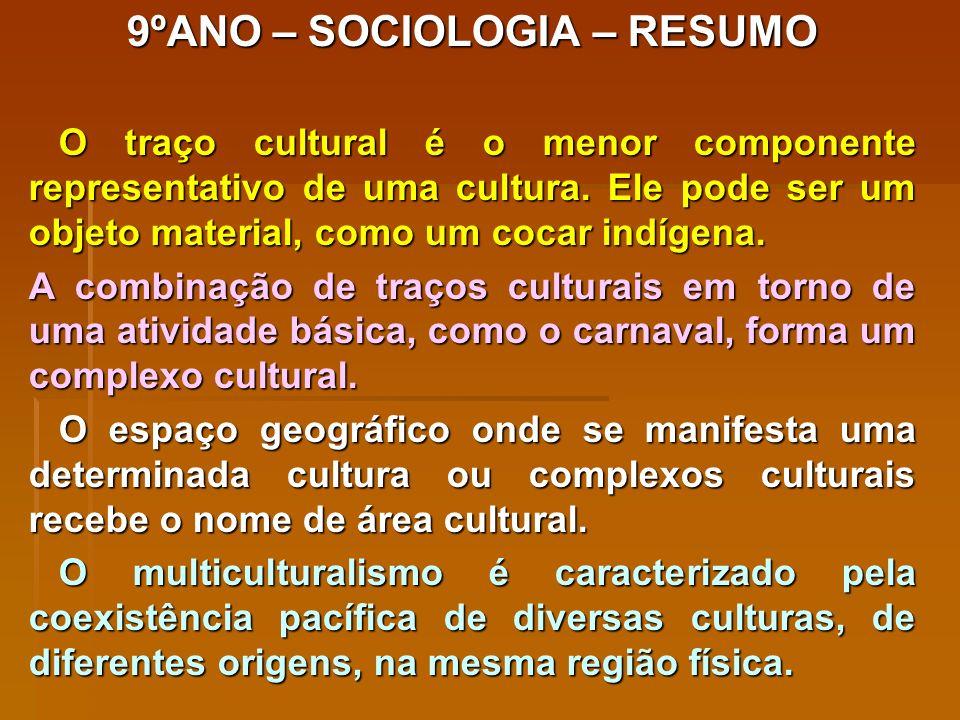 9ºANO – SOCIOLOGIA – RESUMO O traço cultural é o menor componente representativo de uma cultura.