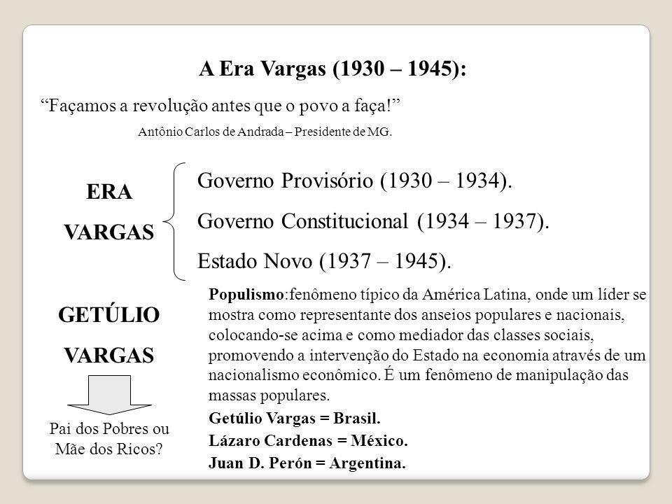 A Era Vargas (1930 – 1945): Façamos a revolução antes que o povo a faça! Antônio Carlos de Andrada – Presidente de MG. ERA VARGAS Governo Provisório (