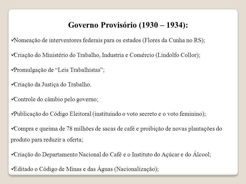 Governo Provisório (1930 – 1934): Nomeação de interventores federais para os estados (Flores da Cunha no RS); Criação do Ministério do Trabalho, Indus