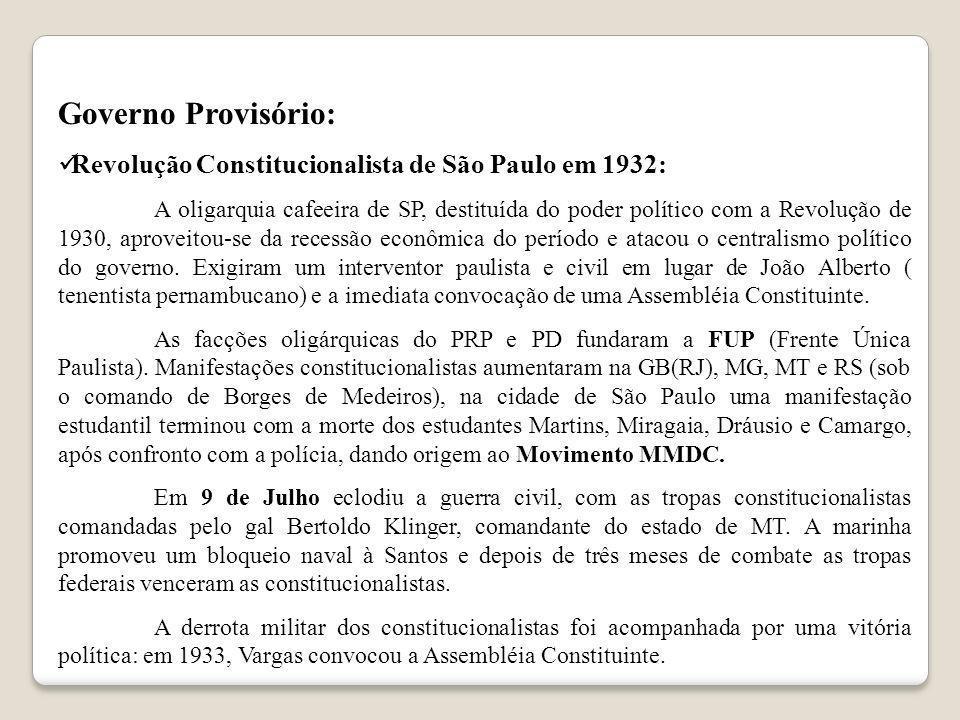 Governo Provisório: Revolução Constitucionalista de São Paulo em 1932: A oligarquia cafeeira de SP, destituída do poder político com a Revolução de 19