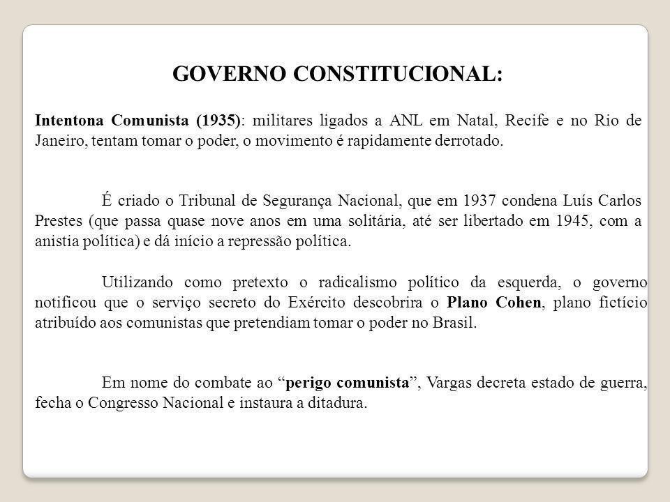 GOVERNO CONSTITUCIONAL: Intentona Comunista (1935): militares ligados a ANL em Natal, Recife e no Rio de Janeiro, tentam tomar o poder, o movimento é