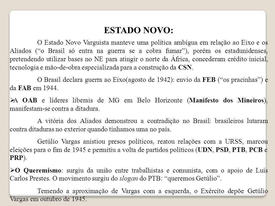 ESTADO NOVO: O Estado Novo Varguista manteve uma política ambígua em relação ao Eixo e os Aliados (o Brasil só entra na guerra se a cobra fumar), poré