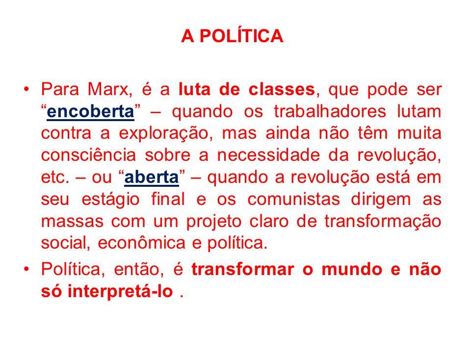 A POLÍTICA Para Marx, é a luta de classes, que pode serencoberta – quando os trabalhadores lutam contra a exploração, mas ainda não têm muita consciên