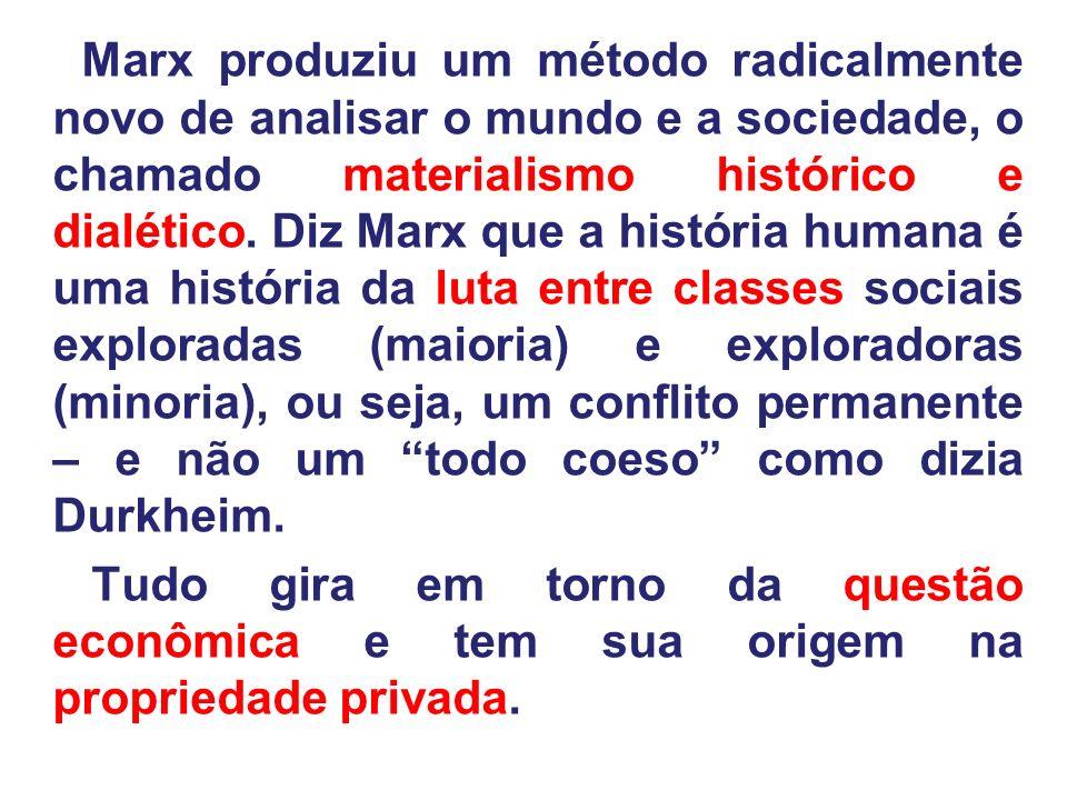 Marx produziu um método radicalmente novo de analisar o mundo e a sociedade, o chamado materialismo histórico e dialético. Diz Marx que a história hum