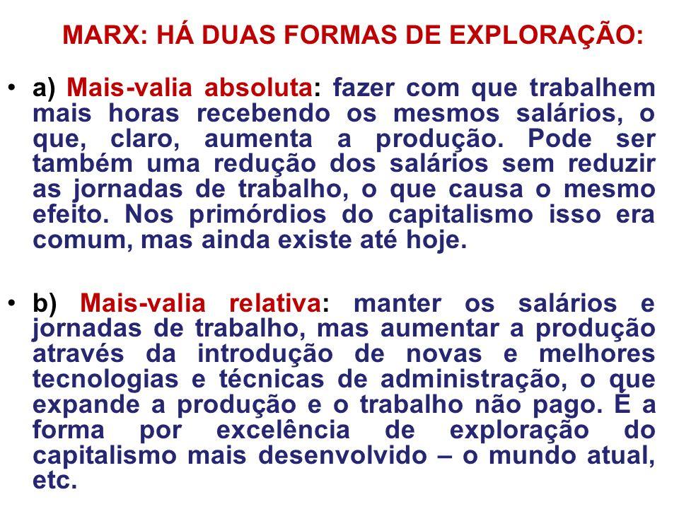 MARX: HÁ DUAS FORMAS DE EXPLORAÇÃO: a) Mais-valia absoluta: fazer com que trabalhem mais horas recebendo os mesmos salários, o que, claro, aumenta a p