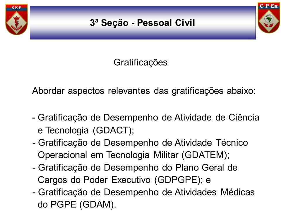 Gratificações Abordar aspectos relevantes das gratificações abaixo: - Gratificação de Desempenho de Atividade de Ciência e Tecnologia (GDACT); - Grati