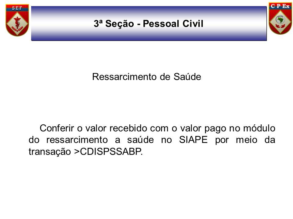 Ressarcimento de Saúde Conferir o valor recebido com o valor pago no módulo do ressarcimento a saúde no SIAPE por meio da transação >CDISPSSABP. 3ª Se