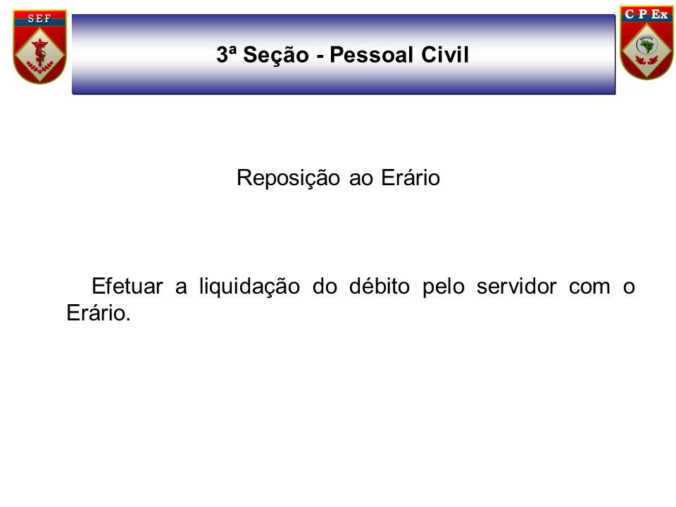 Reposição ao Erário Efetuar a liquidação do débito pelo servidor com o Erário. 3ª Seção - Pessoal Civil