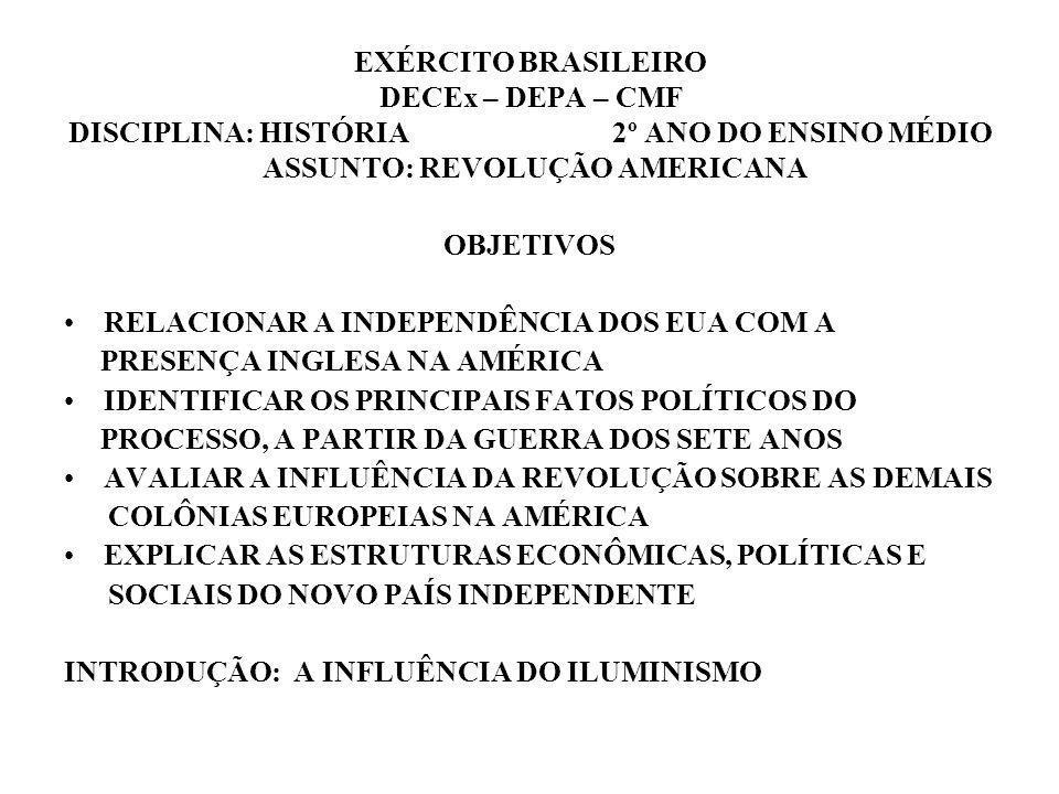 EXÉRCITO BRASILEIRO DECEx – DEPA – CMF DISCIPLINA: HISTÓRIA 2º ANO DO ENSINO MÉDIO ASSUNTO: REVOLUÇÃO AMERICANA OBJETIVOS RELACIONAR A INDEPENDÊNCIA D