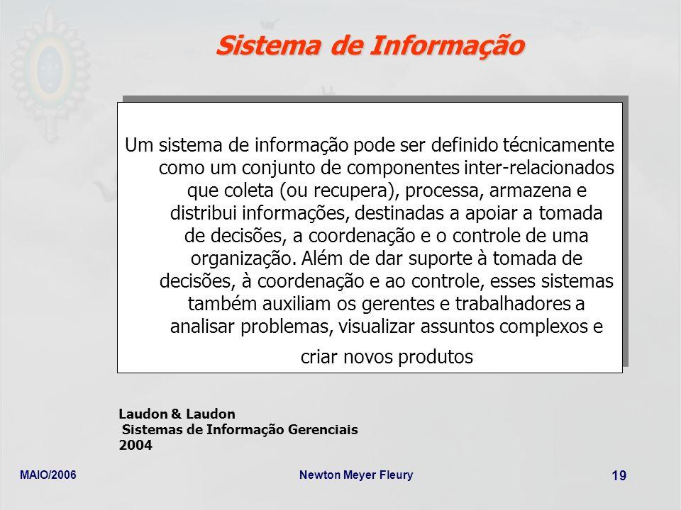 MAIO/2006Newton Meyer Fleury 19 Sistema de Informação Um sistema de informação pode ser definido técnicamente como um conjunto de componentes inter-re