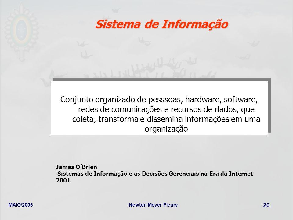 MAIO/2006Newton Meyer Fleury 20 Sistema de Informação Conjunto organizado de pesssoas, hardware, software, redes de comunicações e recursos de dados,