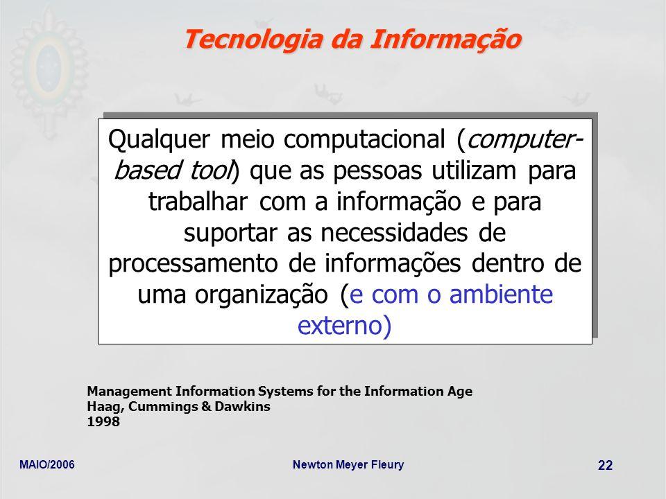 MAIO/2006Newton Meyer Fleury 22 Tecnologia da Informação Qualquer meio computacional (computer- based tool) que as pessoas utilizam para trabalhar com