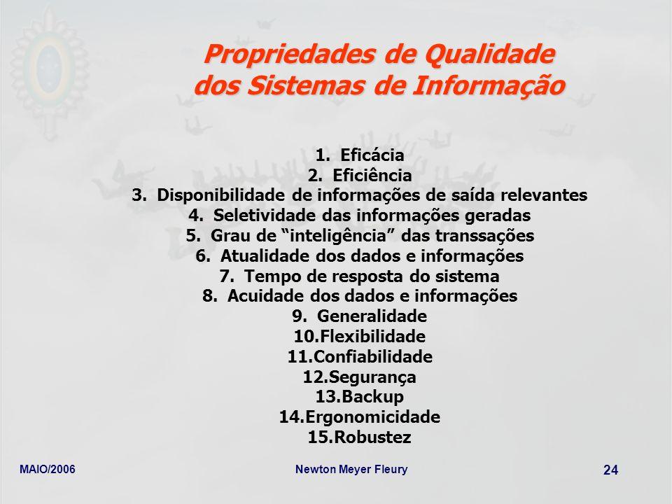 MAIO/2006Newton Meyer Fleury 24 Propriedades de Qualidade dos Sistemas de Informação 1.Eficácia 2.Eficiência 3.Disponibilidade de informações de saída