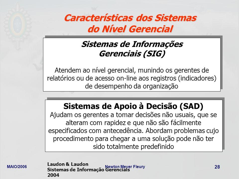 MAIO/2006Newton Meyer Fleury 28 Características dos Sistemas do Nível Gerencial Sistemas de Informações Gerenciais (SIG) Atendem ao nível gerencial, m