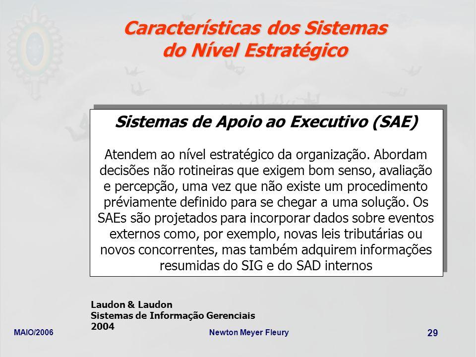 MAIO/2006Newton Meyer Fleury 29 Características dos Sistemas do Nível Estratégico Sistemas de Apoio ao Executivo (SAE) Atendem ao nível estratégico da