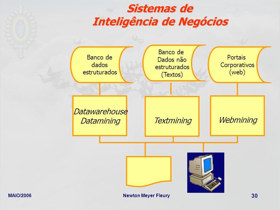 MAIO/2006Newton Meyer Fleury 30 Sistemas de Sistemas de Inteligência de Negócios Banco de dados estruturados Portais Corporativos (web) Datawarehouse