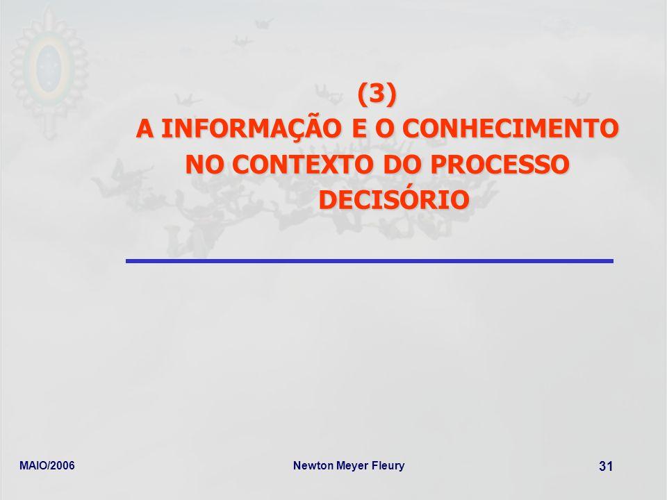 MAIO/2006Newton Meyer Fleury 31 (3) A INFORMAÇÃO E O CONHECIMENTO NO CONTEXTO DO PROCESSO DECISÓRIO