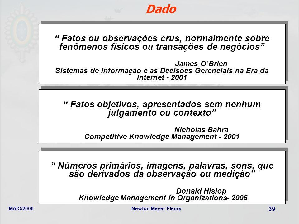 MAIO/2006Newton Meyer Fleury 39 Dado Fatos ou observações crus, normalmente sobre fenômenos físicos ou transações de negócios James OBrien Sistemas de